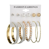 American Gift Geometric Big Circle Hoop Jewelry Set Womens Diamond Stud Simple Design Assort Earring Set