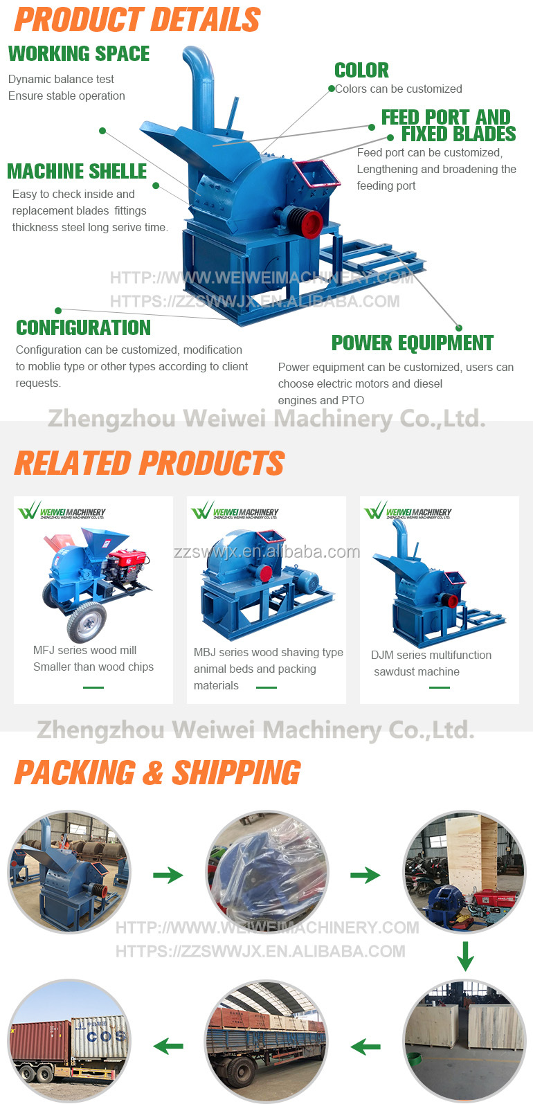Weiwei machine 50 hp diesel engine 30-37kwrwood chipper malaysia  plywood frame planer sawdust making machinery