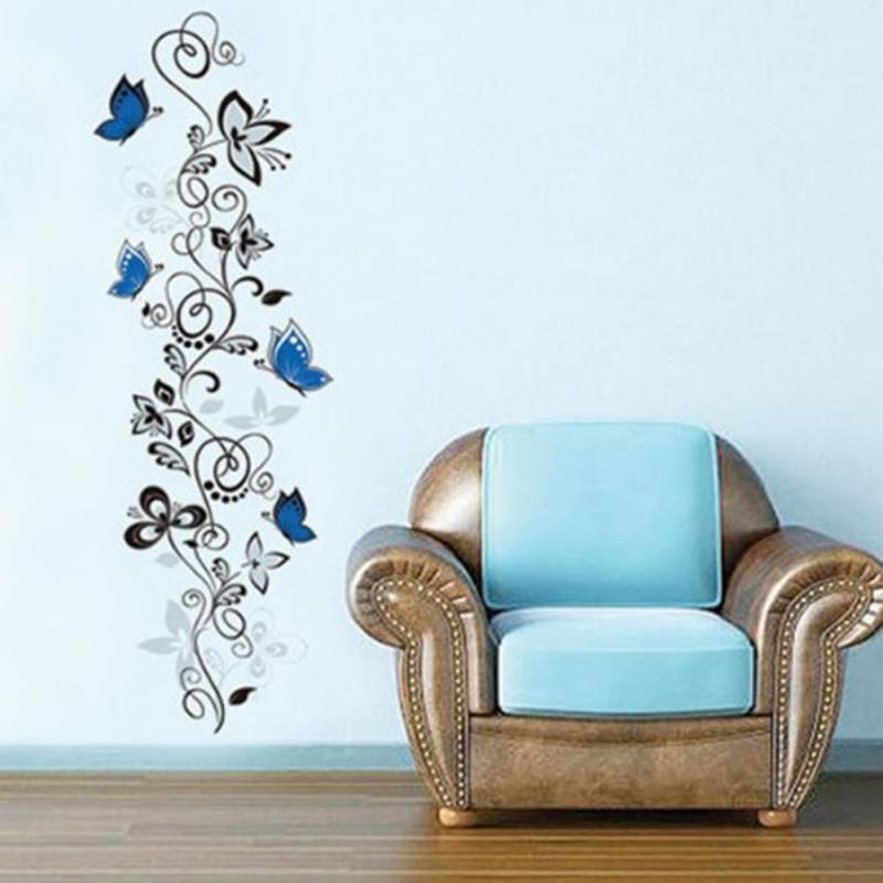 Fashion Vine Blue Butterfly Wall Sticker <font><b>Elegant</b></font> PVC Wall Post Wall <font><b>Decor</b></font> for <font><b>Home</b></font> Decoration Romantic