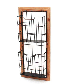 Office Furniture Metal Wire Wall Hanging Magazine Holder Mounted Rack