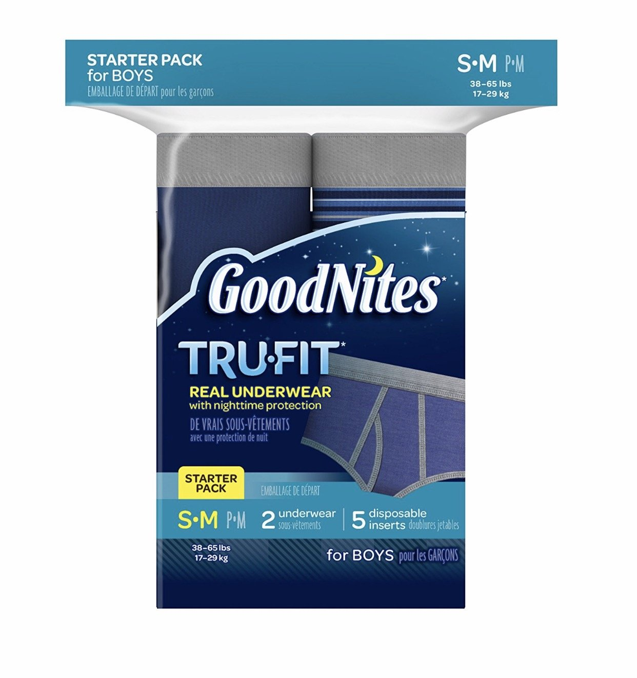 (Pack of 4) GoodNites Tru-Fit Real Underwear with Nighttime Protection Starter Pack for Boys, Small/Medium, 2 Underwear and 5 Disposable Inserts