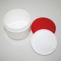PP plastic cream jar white double wall cosmetic jar with red cap 300g