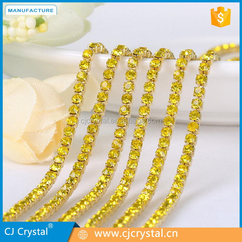 Fashion wholesale rhinestone glass chaton crystal cup chain muti-color rhinestone cup chain