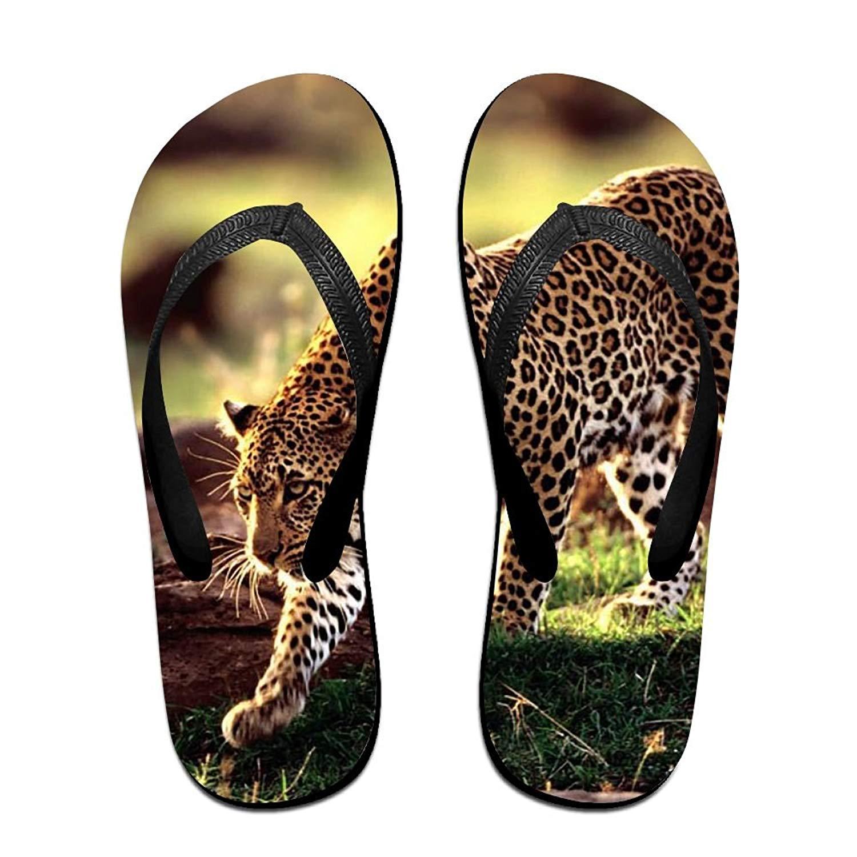 eaa0ec392b8b Get Quotations · Unisex Summer Beach Slippers Leopard Cheetah Flip-Flop  Flat Home Thong Sandal Shoes