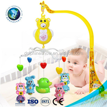 Light Up Baby Toys 0-12 Months Crib Mobile Musical Bed Bell With Animal Rattles Projection Cartoon Educational Kids Toy