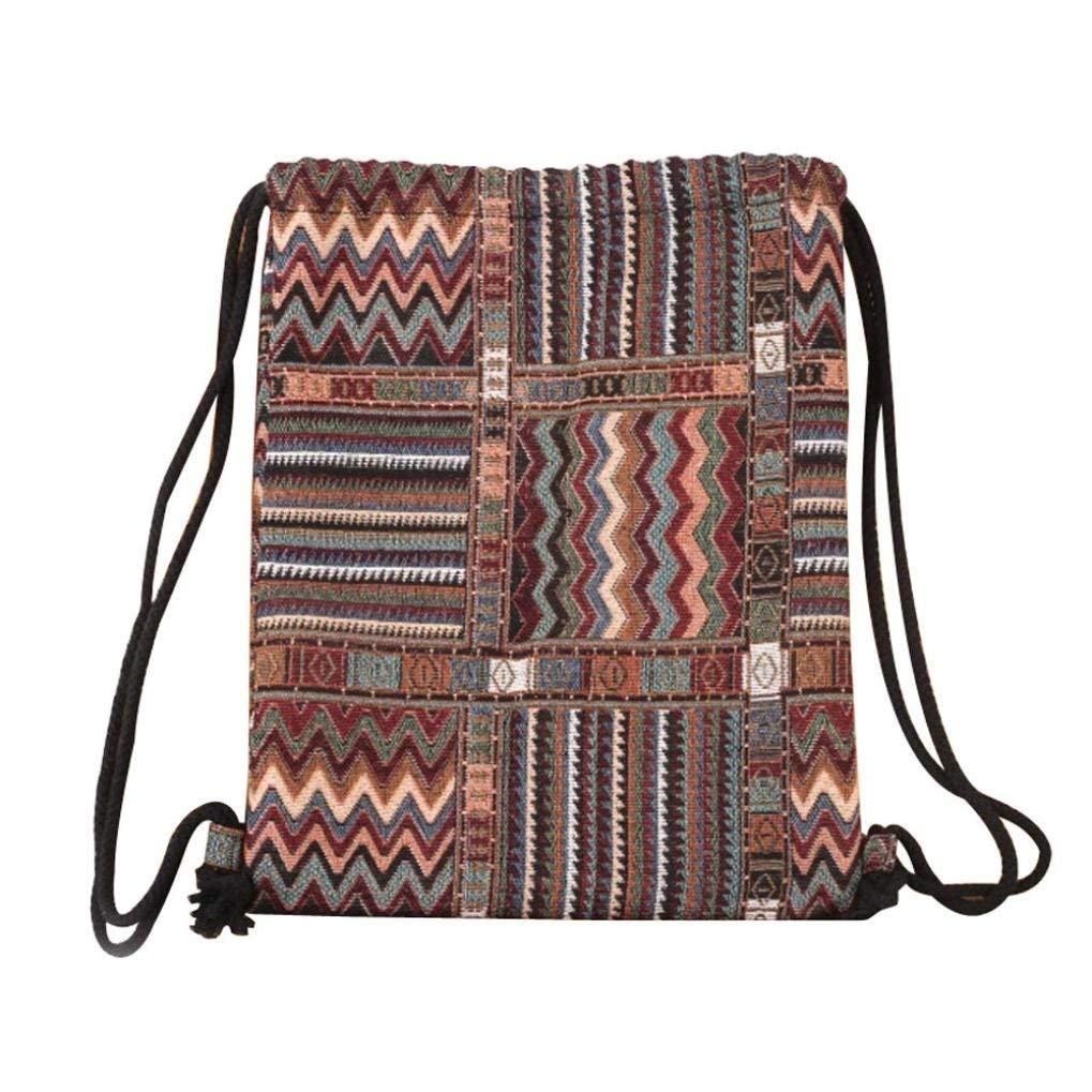 FitfulVan Clearance! Hot sale! Bags, FitfulVan Fashion Women Bohemia Printing High Capacity Bucket Bag Backpack Shoulder Bag (A)