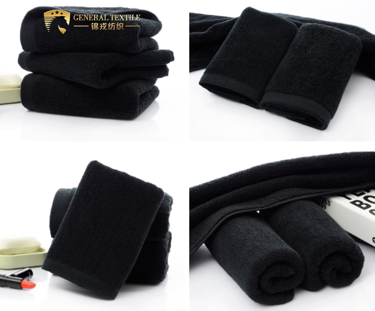 JR310 Customized Size Plain Dyed Bleach Proof Black Hair Towels
