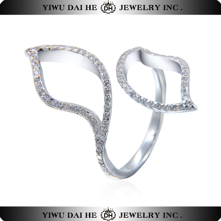 SR093 925 Sterling Silver Fancy Full Knuckle Midi Finger Ring with Cubic Zirconia Stones