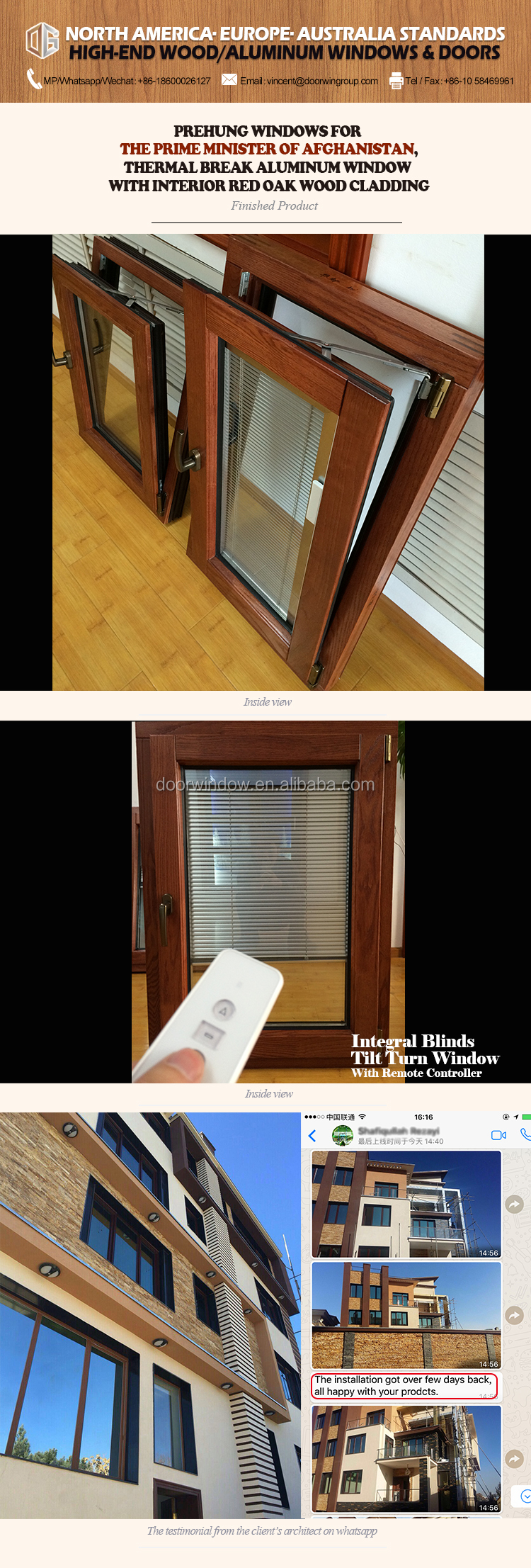 American Standard Solid Red Oak Wood clad aluminum inward opening french windows