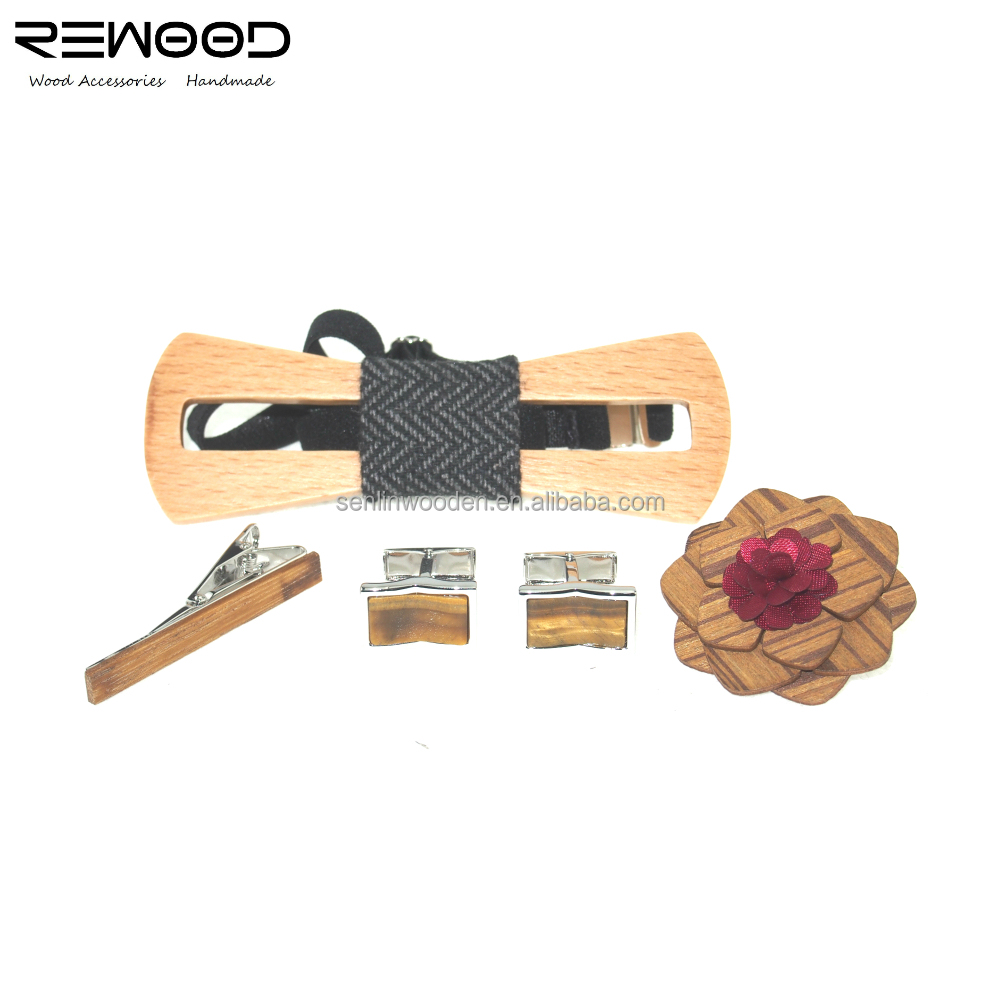 Wholesale Wedding Casual Handmade Wooden Bow Ties Wooden Brooch And Cufflinks
