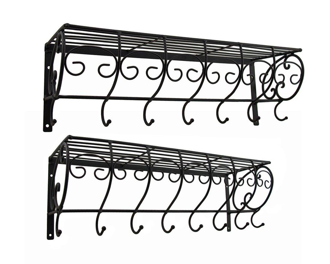 Zeckos Metal Coat Hooks Set Of 2 Decorative Metal Wire Wall Hook Shelves 21 X 7 X 6.5 Inches Black