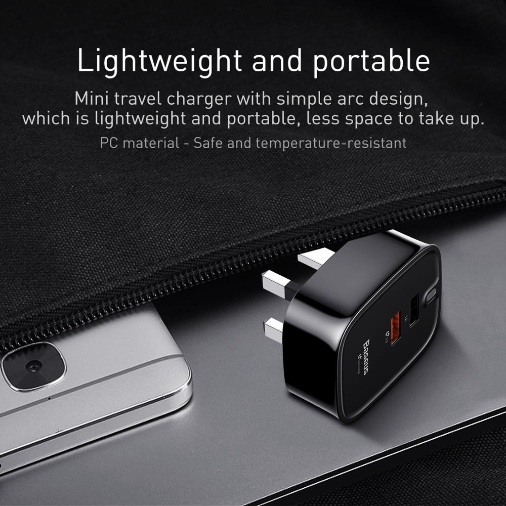 Baseus Funzi Dual USB UQC3.0 UK Travel Adapter Charger