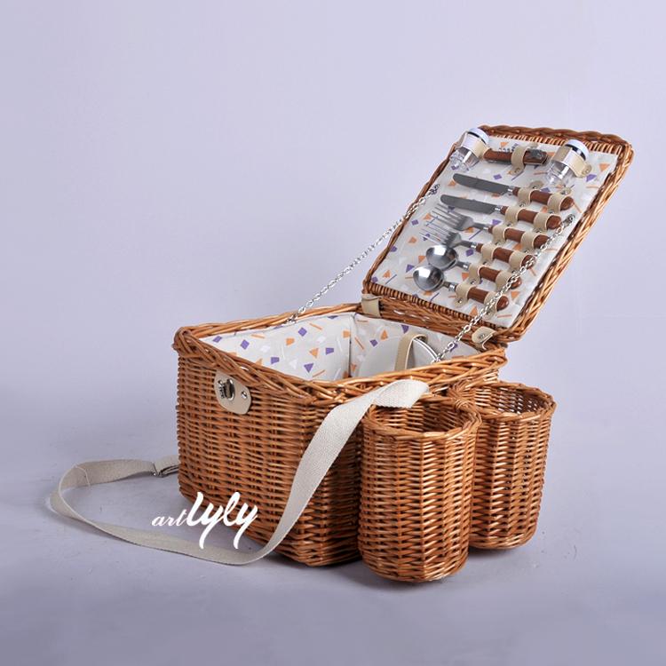 Großhandel raw rattan willow lebensmittel obst lagerung 2 flasche korb wein flaschen halter picknick körbe mit liner schulter gurt
