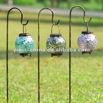 New Mosaic Glass Lantern Candle Holders Garden Stake