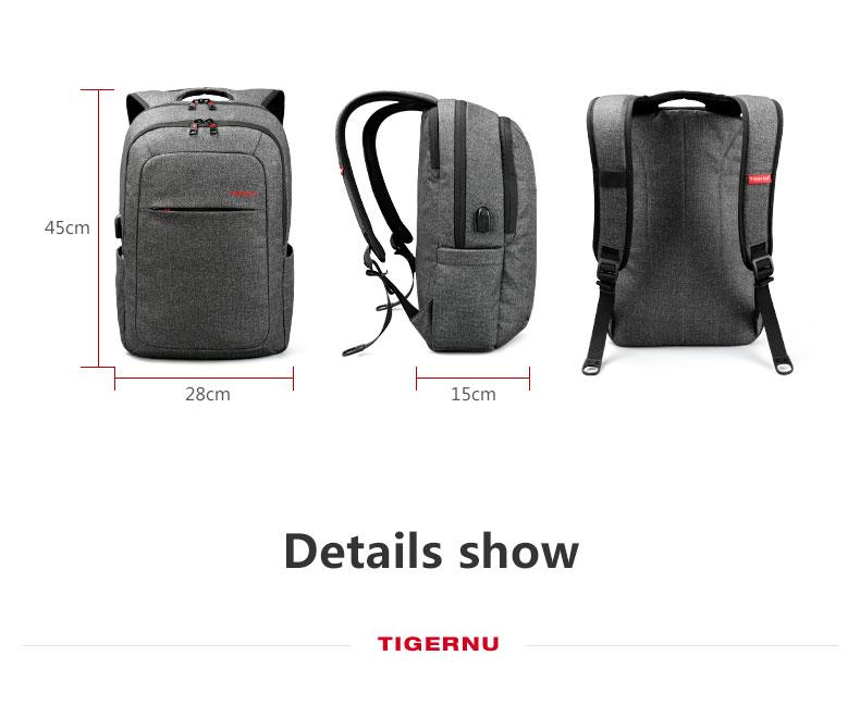 38637fb4 2018 Tigernu USB зарядка женский рюкзак мужской Mochila Escolar рюкзак для  ноутбука мужские школьные сумки рюкзак
