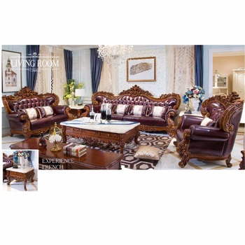 Attirant French Style Leather Sofa Solid Wood Living Room Furniture