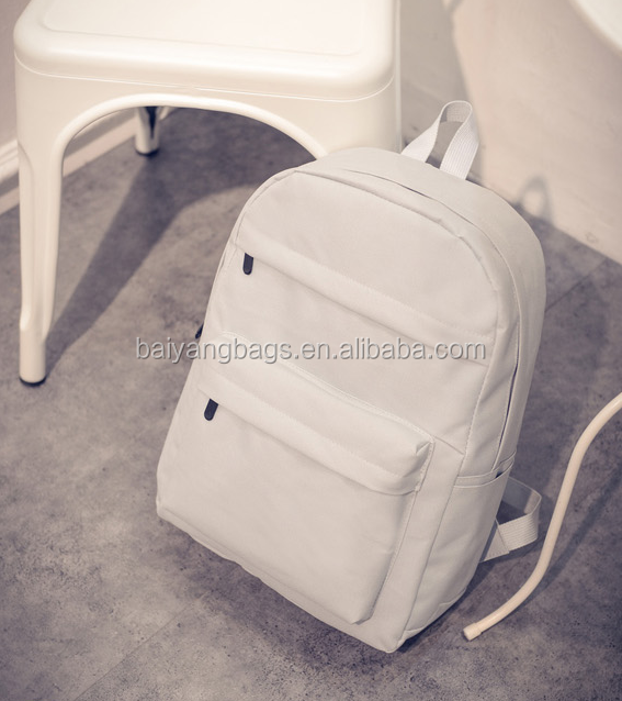 New style plain canvas backpack leisure school bag