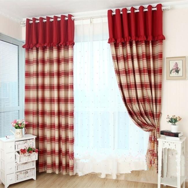 online kaufen gro handel rot karierte vorh nge aus china rot karierte vorh nge gro h ndler. Black Bedroom Furniture Sets. Home Design Ideas