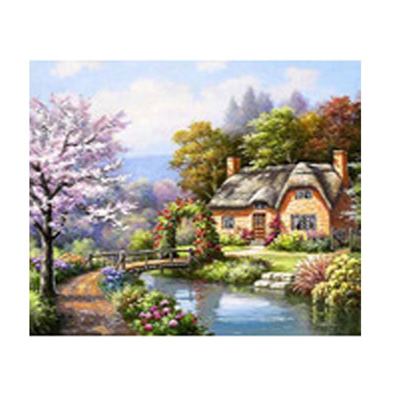 Kit De Pintura De Diamante Taladro Completo Reino Unido casa de árbol de Diamantes cuadrados