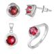 POLIVA 925 Sterling Silver Bridal Jewelry Set, Ruby Rose Flower Jewellery Sets
