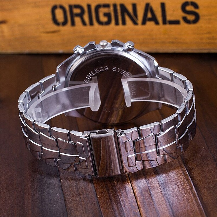 Vogue stainless steel silver back and band wirst watch mens watches brand mens designers