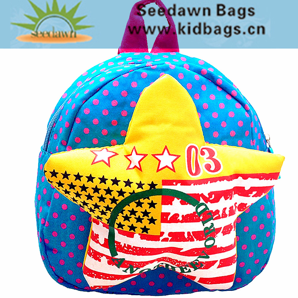 Preschool Kindergarten Kids Small Dot Printing Twill Canvas Backpack with Space Cotton Sponge Emboss Star