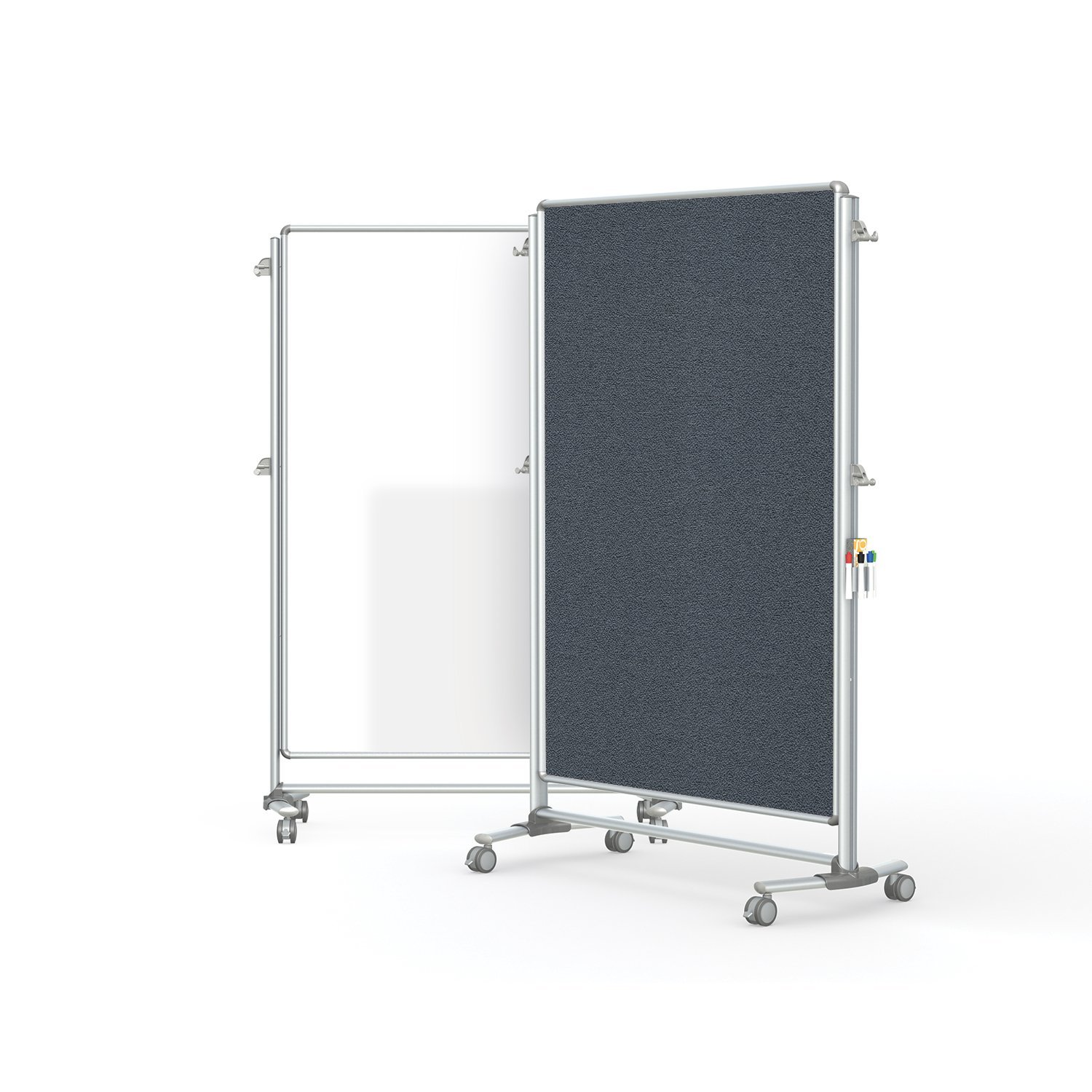 "Ghent 76-1/8"" x 52-3/8"" Nexus Partition, Magnetic Whiteboard/Bulletin Board, Double-Sided, Gray (NEX224MFP-91)"