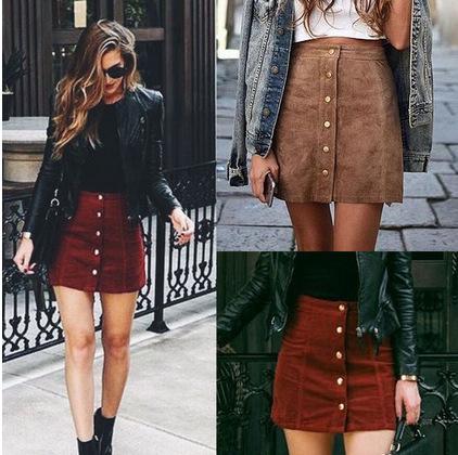 4f586f5aa7857a Kleding suède vrouwen rok 90 s Vintage korte rok Winter hoge taille casual  rokken met ...