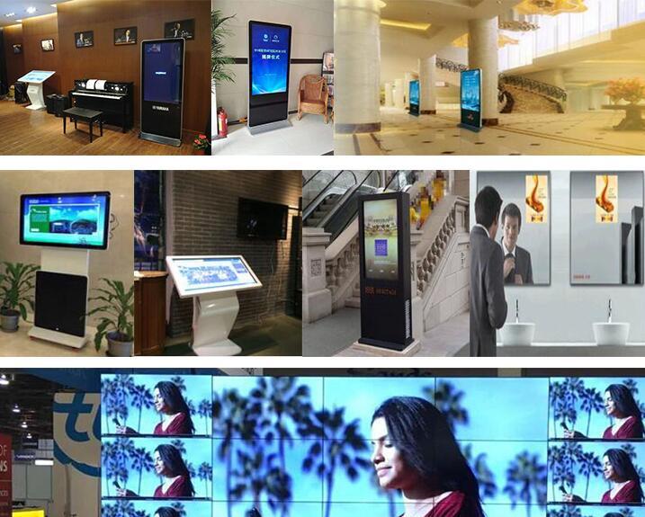 65 pouces HD 1080P joueur de publicité d'intérieur d'affichage à cristaux liquides affichage de signalisation numérique au sol kiosque d'information à écran tactile tactile en option