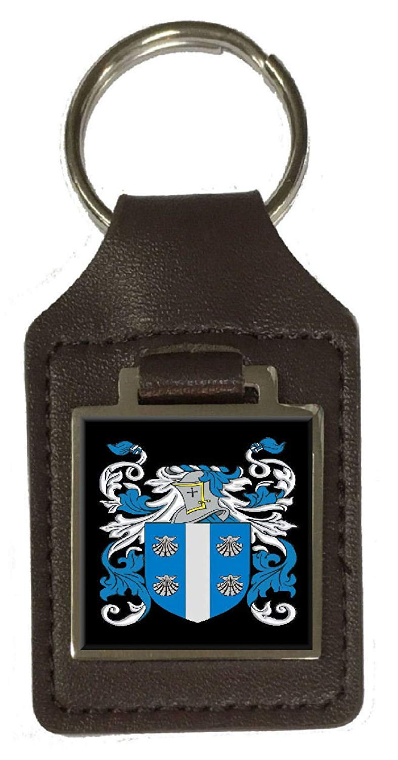 Thistlethwaite Family Crest Surname Coat Of Arms Brown Leather Keyring Engraved
