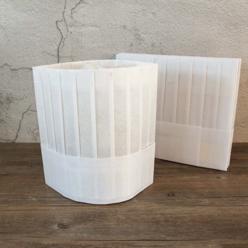 60g disposable non woven flat top chef hat