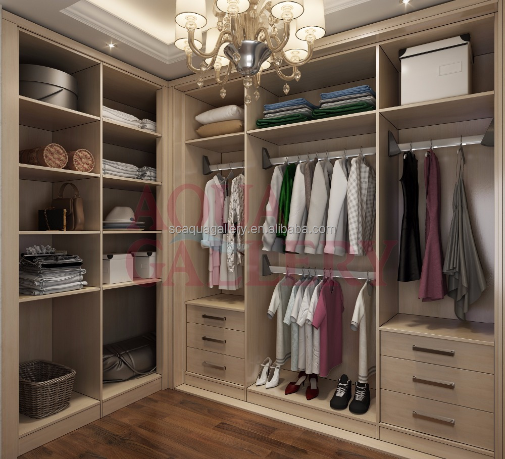 Modern Melamine Bedroom Furniture Corner Walk - In Closet Without ...