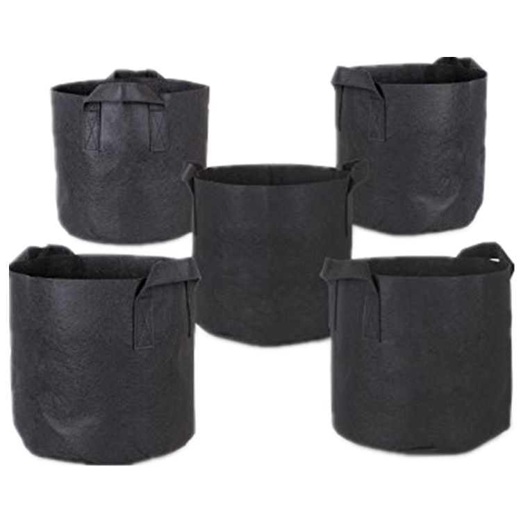 Black 5-Pack Grow Bags Fabric Planter Pots With Handles