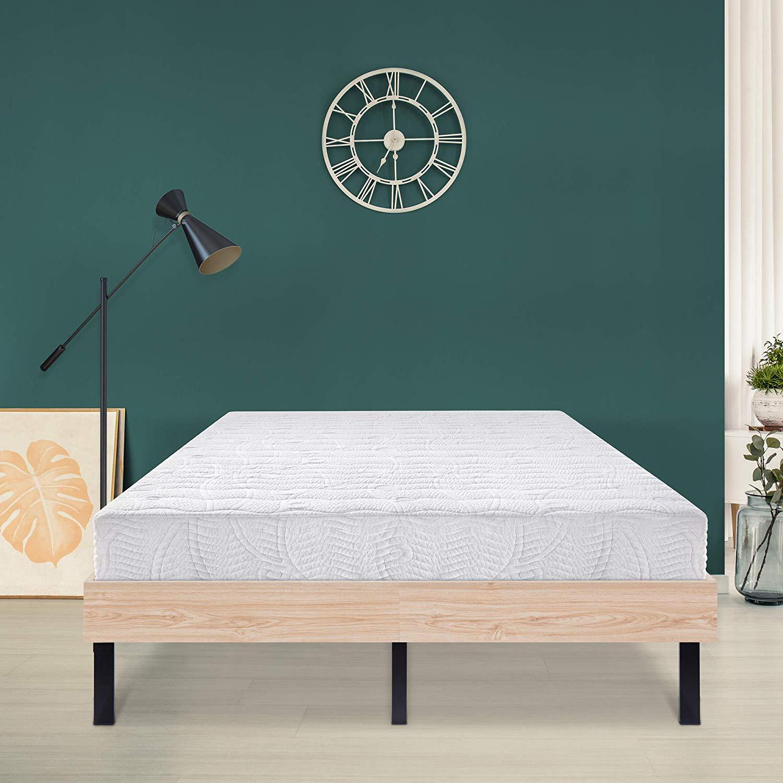 Ecos Living 14 Inch Wood Platform Bed/Steel Slat Non-Slip Support/Stylish Natural (Full)