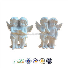 POPULAR resin two white standing angel figurine