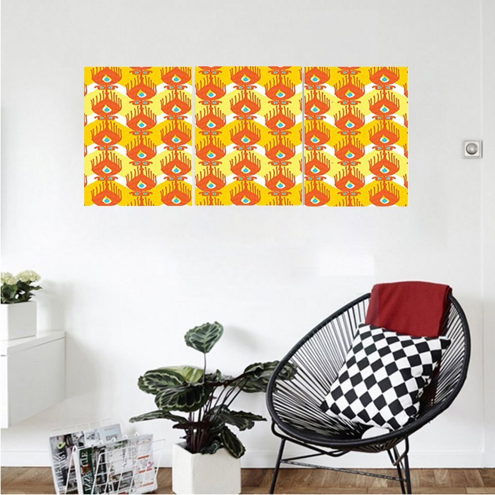 Liguo88 Custom canvas Ikat Decor Collection Colorful Exotic Fantastic Ikat Style Shapes Patterns Traditional Asian Indigenous Bedroom Living Room Wall Hanging Orange Yellow Blue