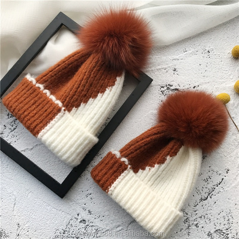 KH057a 2018 Popular mom and baby Fox Fur Pom Ball Winter Beanies Hat Warm Women Girl Wool Cap Fur Pompons Female Bonnet