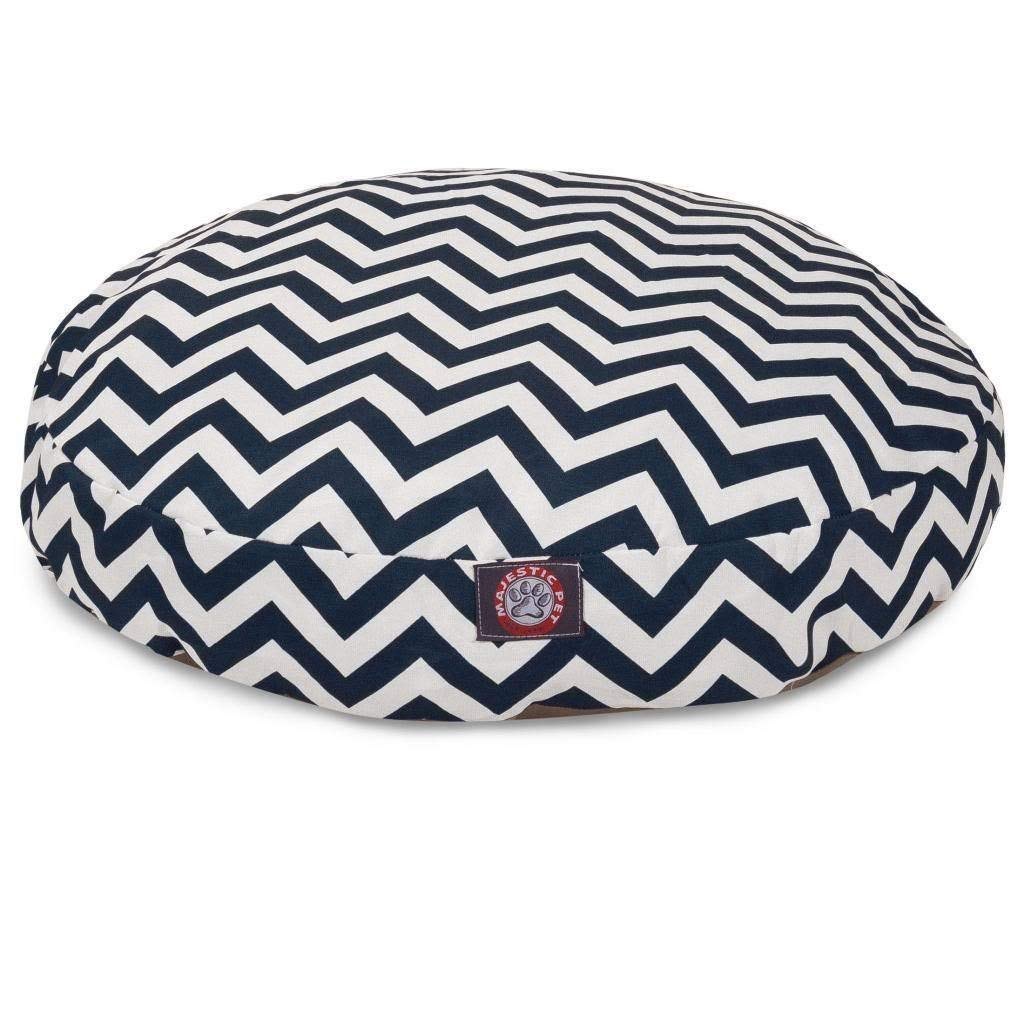 Small Navy Blue Chevron Stripes Pattern Dog Bed, Elegant Zig Zag Stripe-Inspired Print Pet Bedding, Round Shape, Features Water, Stain Resists, Removable Cover, Soft & Comfy Design, Plush Polyester
