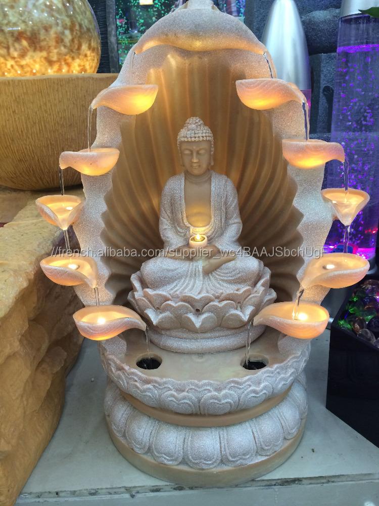 Fontaine Du0027Intérieur Sculpture Led Lumière Table Religion Bouddha