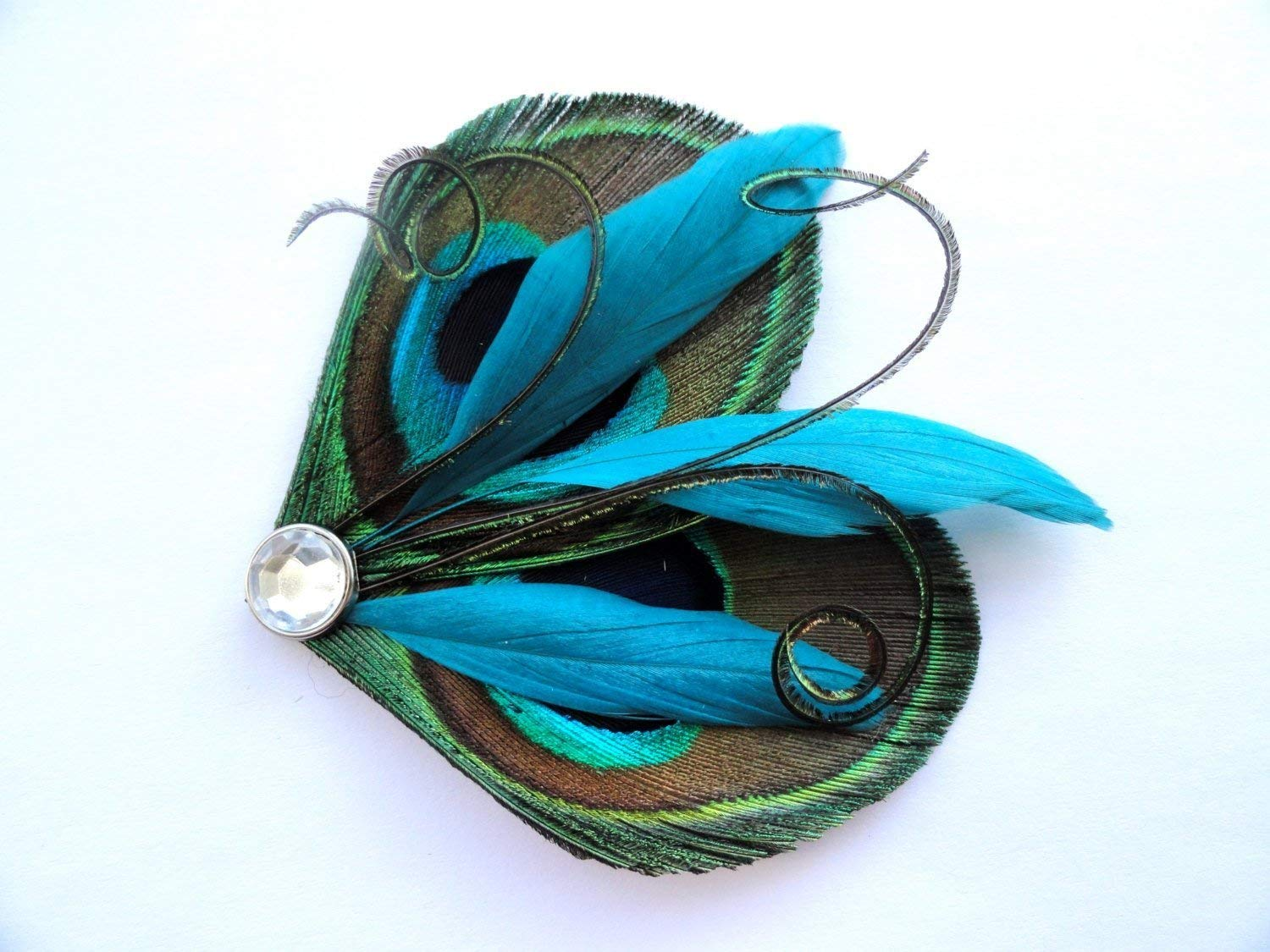 Oh Lucy Handmade DAISY Feather Hair Clip, Feather Fascinator in Natural Peacock and Turquoise