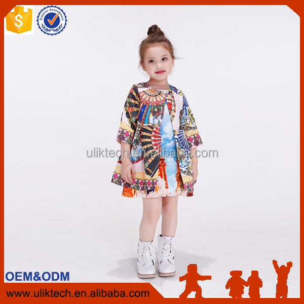 2016 spring autumn girls jacket children's clothing girl trench coat flower printing kids jacket coats girl coats and jackets