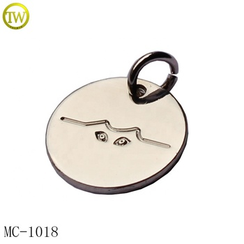 Custom design eyes logo metal charm silver small jewelry pendant for necklace