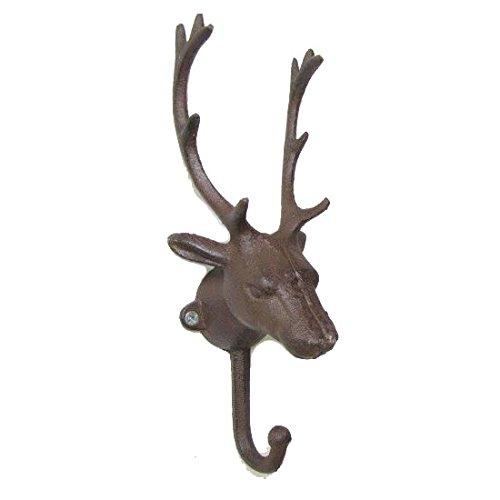 KiaoTime Vintage Rustic Cast Iron Metal Deer Antlers Coat Hook, Coat Rack, Coat Hanger, Decorative Deer Antler Wall Hook, Shabby Chic Storage Furniture Coat Wall Hook Home Hanger (Brown)