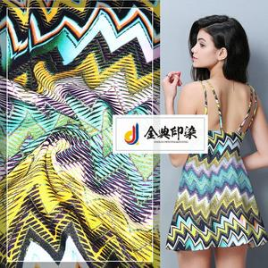 Hot sale custom soft polyester rainbow colored printed silk floral dress fabric
