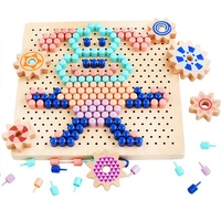 wooden puzzles kids 3D Mosaic Picture variable pixel painting puzzle building blocks kid mushroom nail puzzle