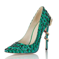 Elegant Sexy Bling Pointed Toe Snake Heel Crystal Rhinestone Stiletto Party Shoes