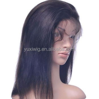 2016 front lace wig full lace wigs 100% remy indian human hair silky straight Black