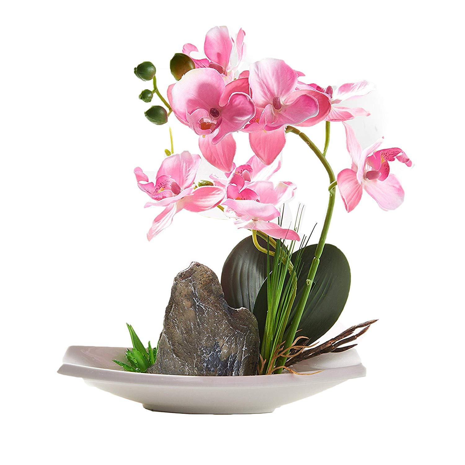BeautiLife Blooming Orchid Artificial Flower Arrangements Blooming Flower Bonsai Rockery Series in vase for Home Wedding Party Office Dcoration