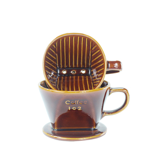 Full brown glazed unique design italian style korea ceramic filter for foam coffee tea