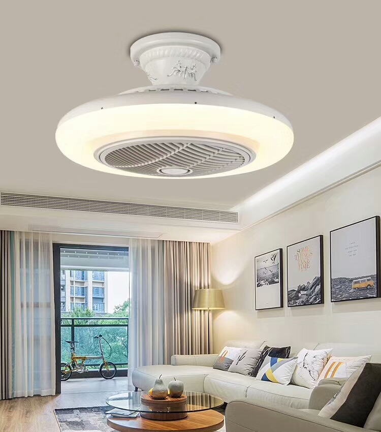 European style 42 inch speed adjustable invisible ceiling fan with light and remote